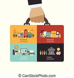 icone, presa, affari, uomo affari, illustrazione, borsa, concetto, vettore, investimento, infographic, appartamento, mano, disegno