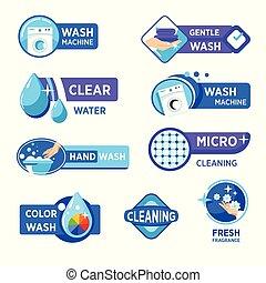 icone, proprietà, bucato, lavare, isolato, detersivo, ...