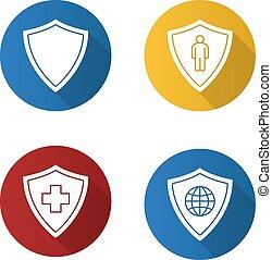 icone, protezione, disegno, appartamento, schermi, set, uggia, lungo
