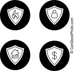 icone, protezione, schermi, set