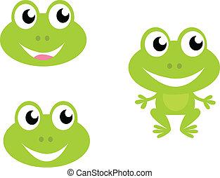 icone, rana, isolato, carino, -, verde, cartone animato, bianco