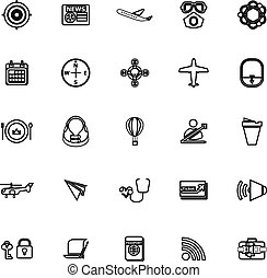 icone, relativo, aria, fondo, linea, bianco, trasporto