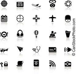 icone, relativo, aria, riflettere, fondo, bianco, trasporto