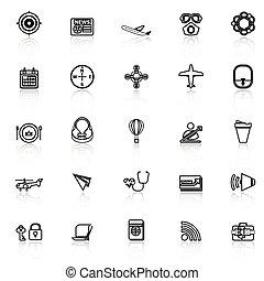 icone, relativo, aria, riflettere, linea, bianco, trasporto