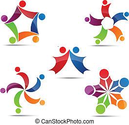 icone, rete, sociale, comunità
