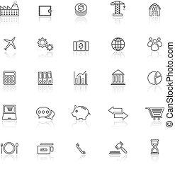 icone, riflettere, fondo, linea, bianco, economia