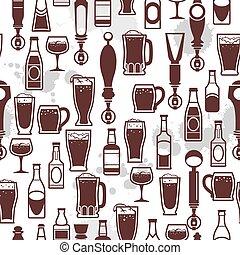 icone, rubinetto, birra