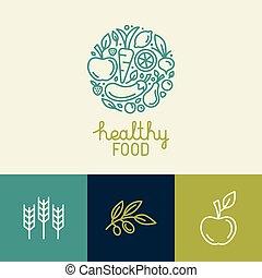 icone, sagoma, verdura, frutta, logotipo, vettore, disegno