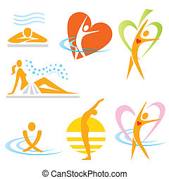icone, salute, sauna, terme