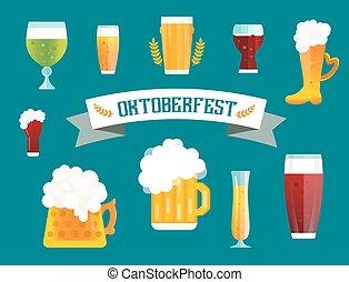 icone, segno, bottiglia, set, birra