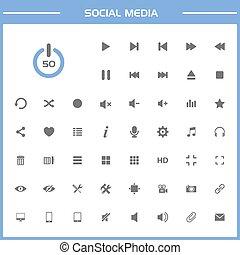 icone, semplice, media, 50, sociale, presentazione