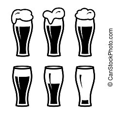icone, semplice, sei, vetro, birra, nero