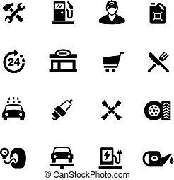 icone, --, serie, distributore di benzina, nero