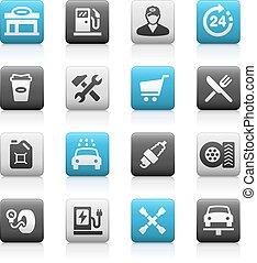 icone, serie, -, gas, metallina, stazione