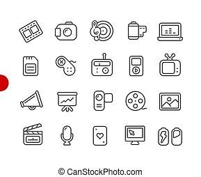 //, icone, serie, multimedia, punto, rosso