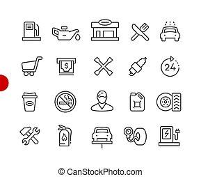 //, icone, serie, punto, distributore di benzina, rosso