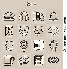 icone, set, 4, contorno