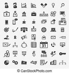 icone, set., affari illustrazione