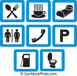 icone, set, albergo, -, segni