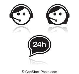 icone, set, assistenza clienti