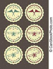 icone, set, aviatore, vettore