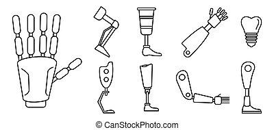 icone, set, bionico, contorno, membra artificiali, stile