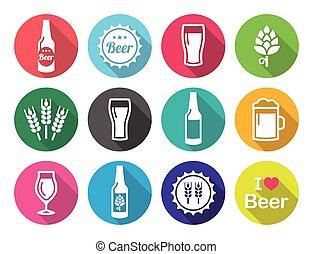 icone, set, birra, disegno, appartamento, rotondo