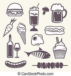 icone, set, cibo
