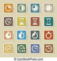 icone, set, clocks, tempo