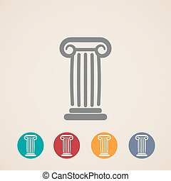 icone, set, colonna, antico