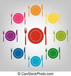 icone, set, colorfull