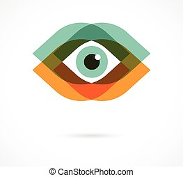 icone, set, colorito, occhio
