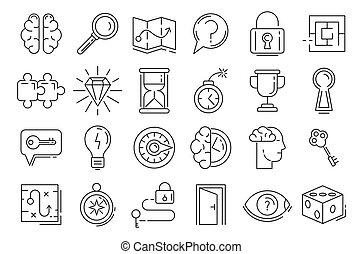 icone, set, contorno, ricerca, stile