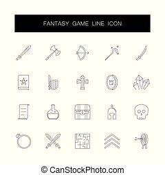 icone, set., fantasia, gioco, vettore, pack., linea