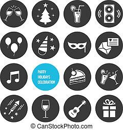 icone, set, festa, vettore