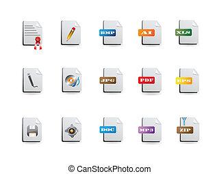 icone, set, file