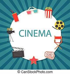 icone, set, fondo, cinema