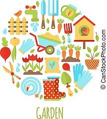 icone, set, giardinaggio, illustrazione