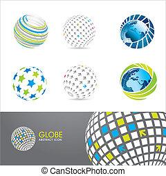 icone, set, globo
