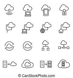 icone, set, grande, calcolare, dati, nuvola