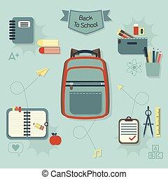 icone, set, indietro, scuola