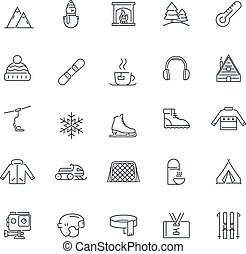 icone, set., inverno, vettore, pack., linea, attività