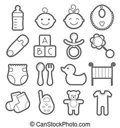 icone, set., isolato, fondo., bambino, bianco