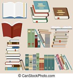 icone, set, libro