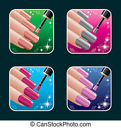icone, set, manicure., donne