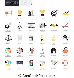 icone, set, marketing, affari