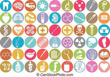 icone, set, medico
