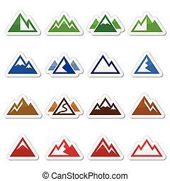 icone, set, montagna, vettore