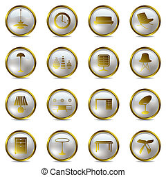 icone, set, oro, interno