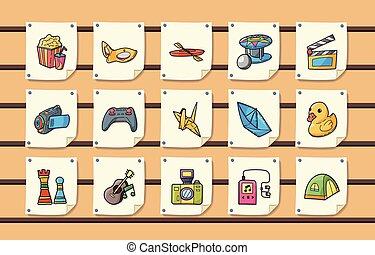 icone, set, ozio, eps10, hobby